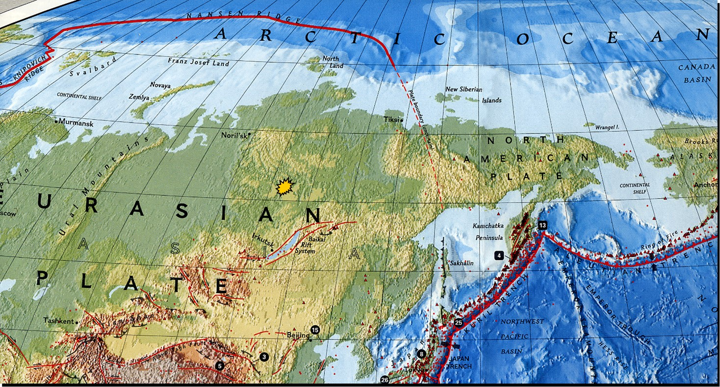 Eastern Siberian location of Tunguska blast site