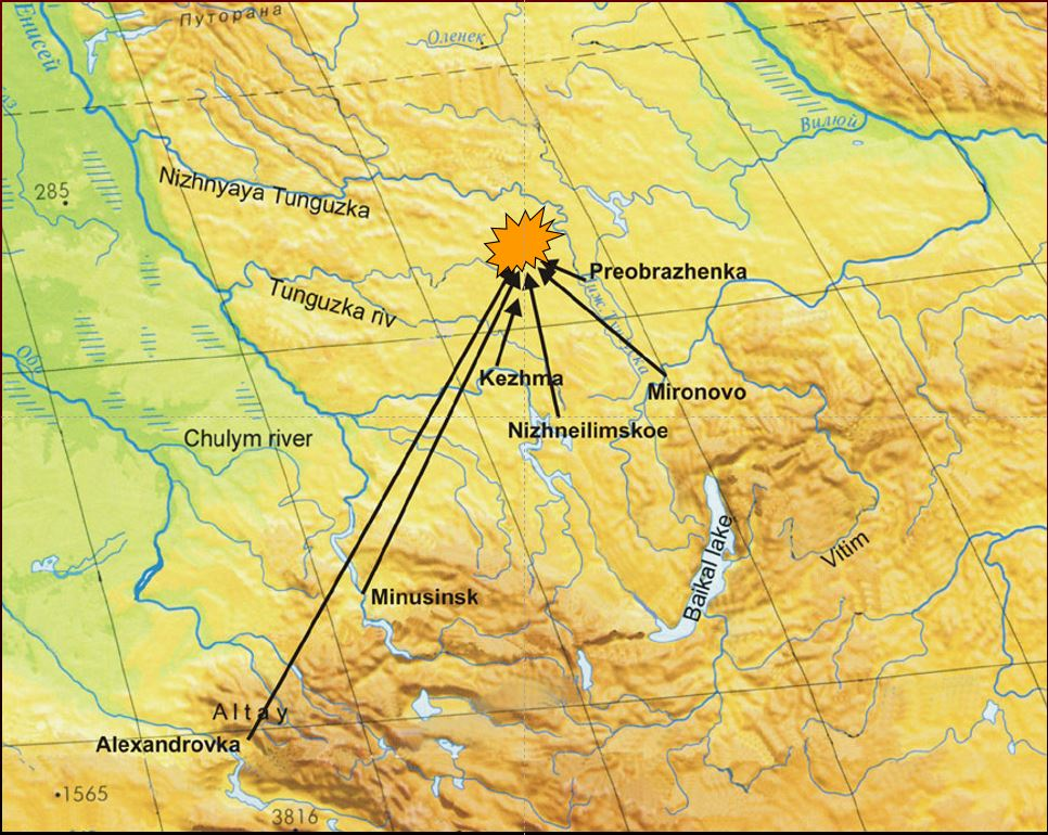 Location of Tunguska blast